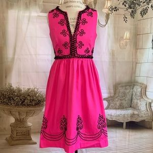 Lilly Pulitzer Hot Pink Midi Embroidered Dress